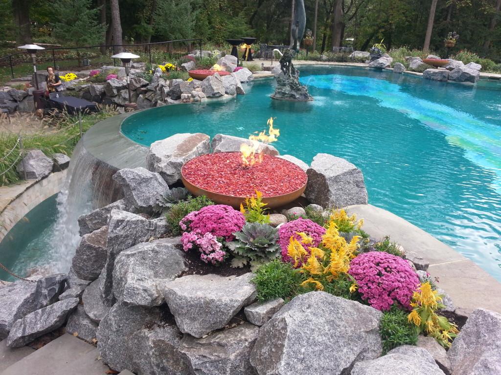 Firebowl next to pool